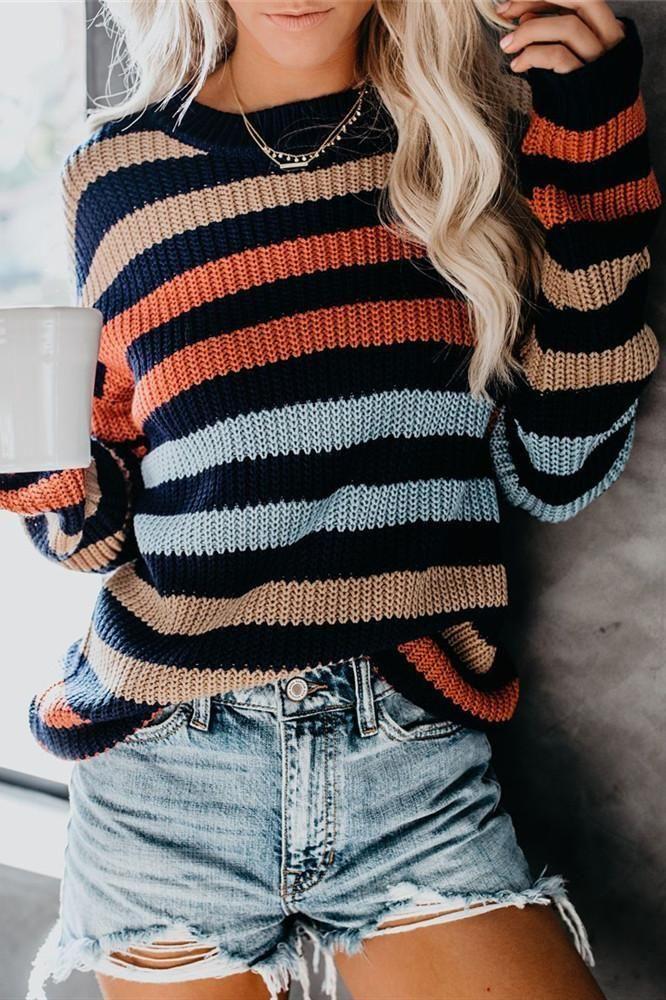 Wipapi Thin Fall Stripes Long Sleeve Sweater