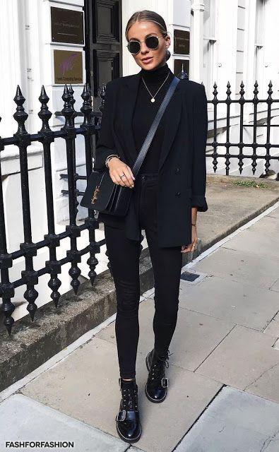 Woman All Black Outfits #woman #fashionoutfits #blackoutfit #fashiontrends #fash