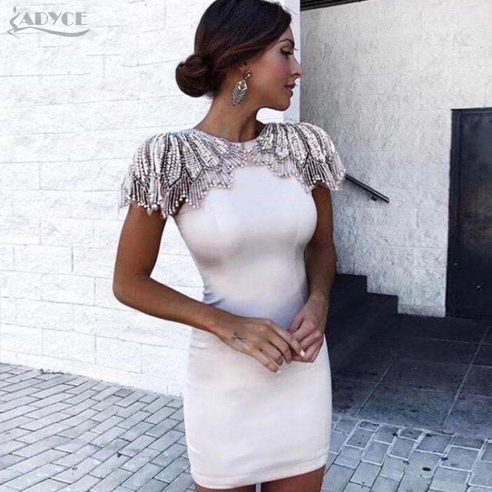 Woman Celebrity Evening Party Dress Vestido Sexy White Beads Diamond Mini Runway Club Dress – AbyanOnlineExpress