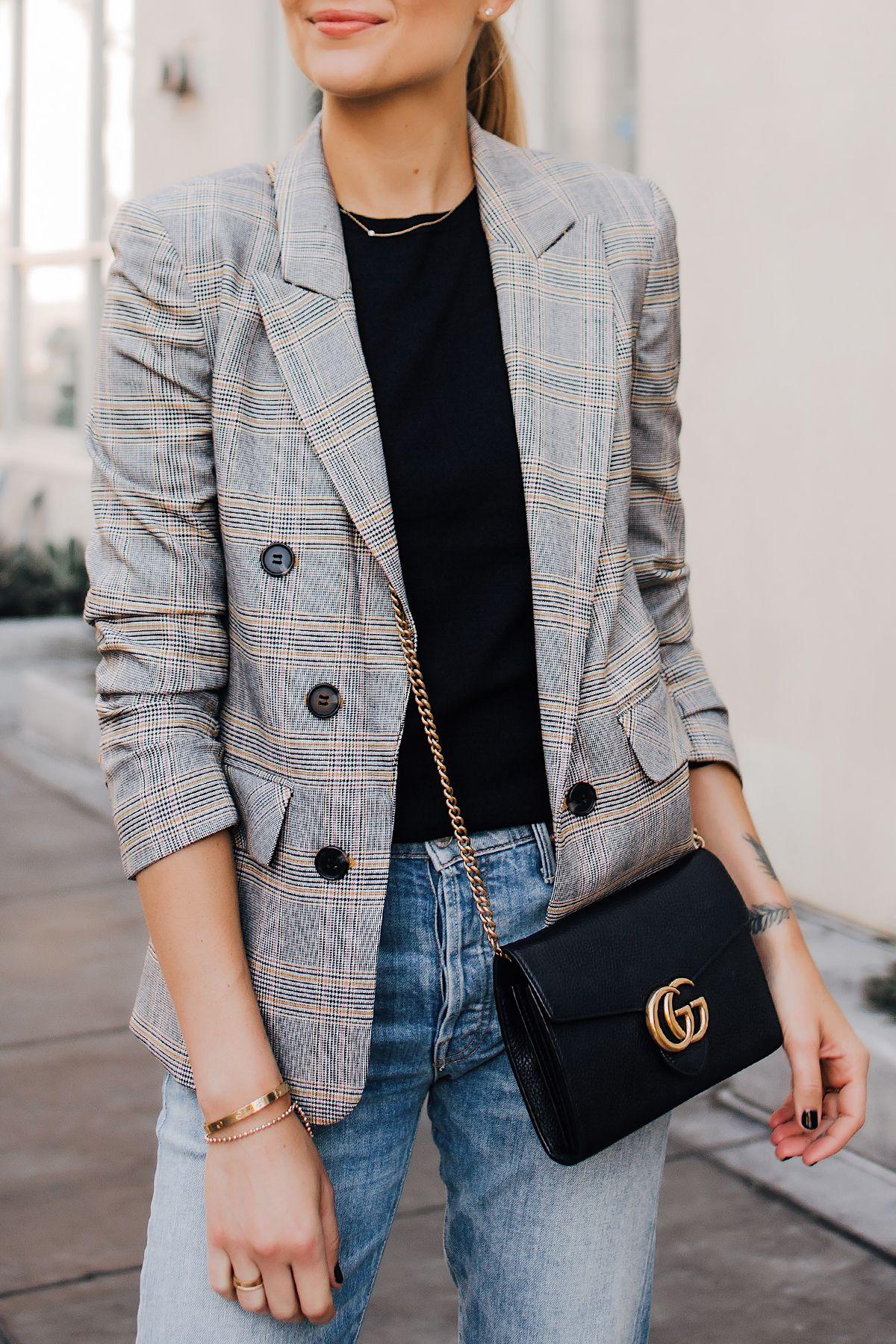 Woman Wearing Plaid Blazer Outfit Jeans Gucci Black Handbag Fashion Jackson San …