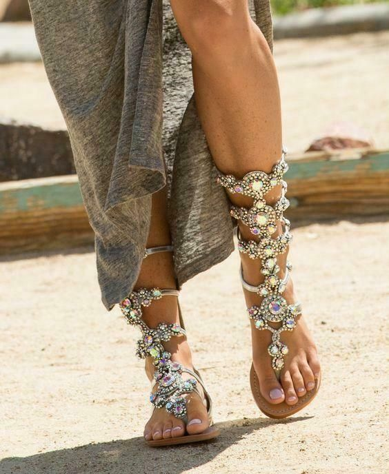 Womans Crystal Rhinestone Sandals Beach Shoes Chains Gladiator Sandals Boot Flat…