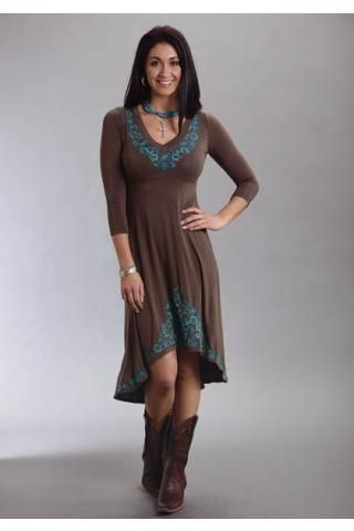 Women's Dresses and Skirts Brown Rayon Spandex Jersey Dress Stetson Ladies Collection- Fall I