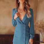Women's Blue Deep V-Neck Long Sleeve Shift Solid Blazers