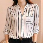 Women Blouse Korean Striped Blouse Shirts Femme Long Sleeve Chiffon Blouses Shirt Women Tops Fashion 2017 Blusas Mujer Donne