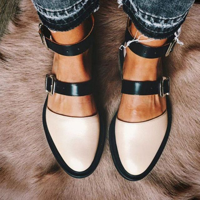 Women Buckle Flat Leather Shoes Ankle Strap Ladies Mixed Color Casual Comfort Round Toe Footwear Autumn Color Black Shoe Size 7.5