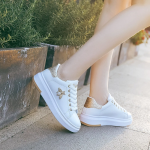 Women Fashion Breathable Leather Platform Rhinestone Sneakers