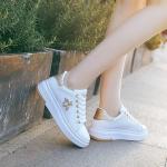 Women Fashion Breathable Leather Platform Rhinestone Sneakers