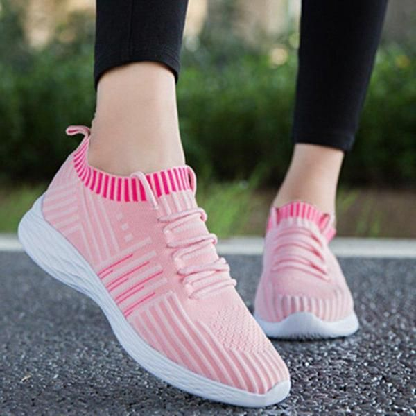 Women Knitted Fabric Sneakers Casual Comfort Lace Up Shoes