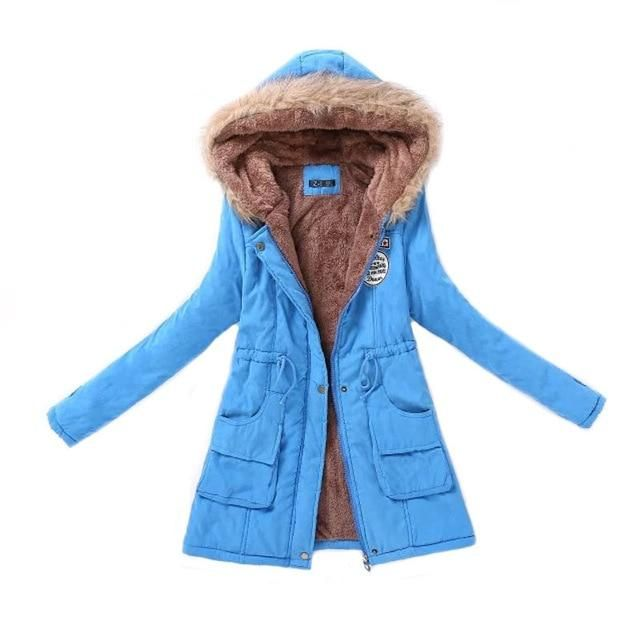 Women Parka Fashion Autumn Winter Warm Jackets Women Fur Collar Coats Long Parkas Hoodies Office Lady Cotton Plus Size – Beige XXXL