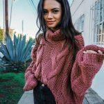 Women Red Chunky arm knit sweater - handmade sweater Knit sweater - Cable knit Wool Pullover Warm Sw