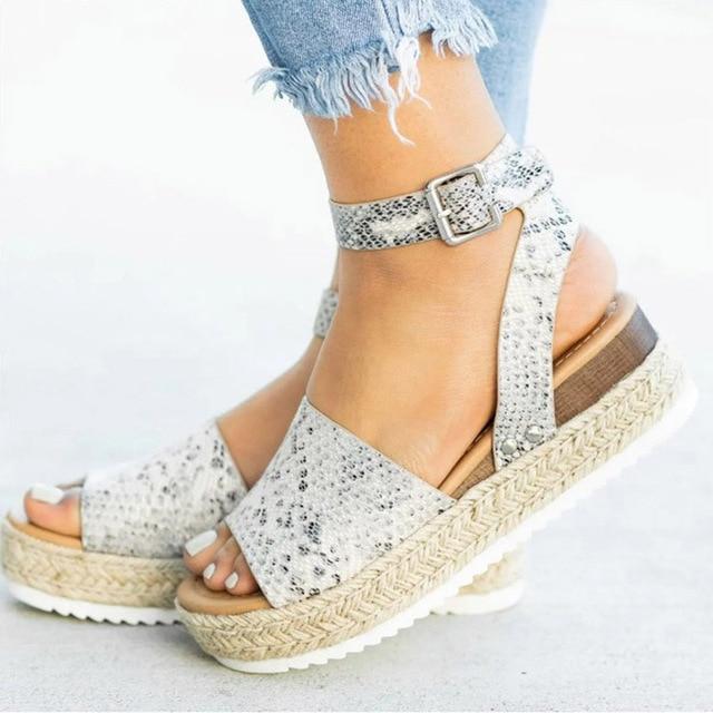 Women Sandals Plus Size Wedges Shoes For Women High Heels Sandals Summer Shoes 2019 Flip Flop Chaussures Femme Platform Sandals – Gray 10