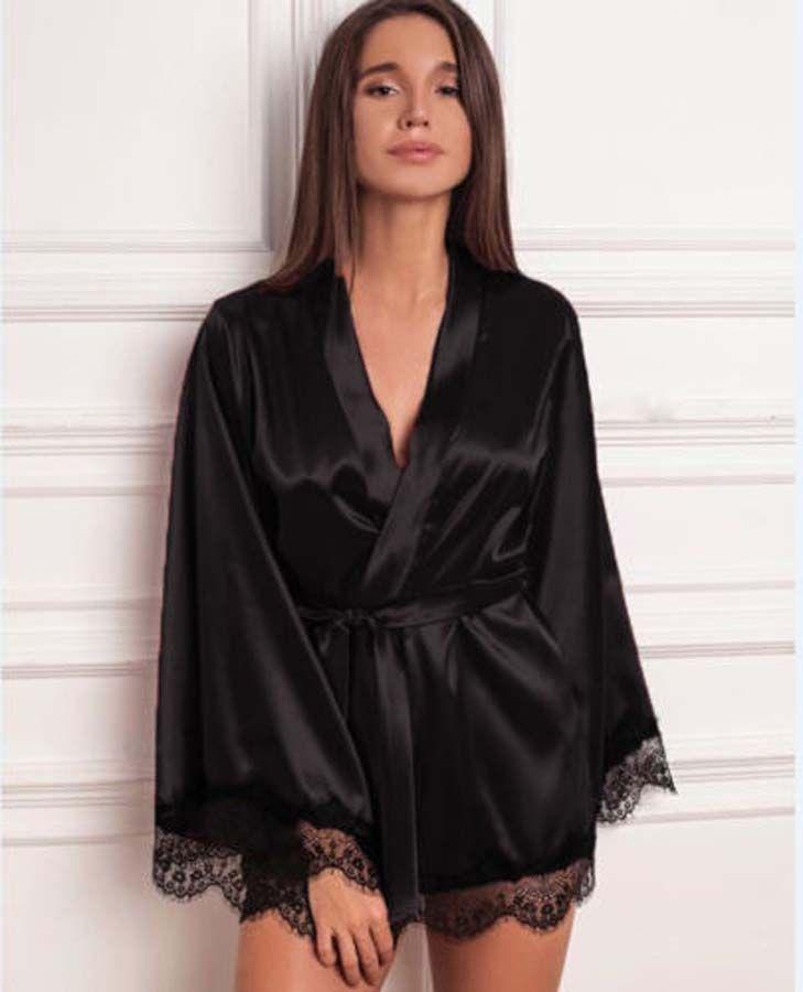 Women Satin Silk Kimono Robe Dressing Gown Sleepwear Bathrobe Solid Lace Belt Sashes Robes