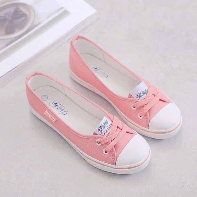 Women Shoes Canvas Shoes Comfortable Shoes Slipon Tide Students Set Foot Flat Shoes Color Sky blue Shoe Size 5