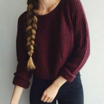 Women Sweater Long Sleeve Loose Pullover Knitted Sweater Short Jumper Knitwear Thin Female Autumn Sweater Women WineRed Pullover