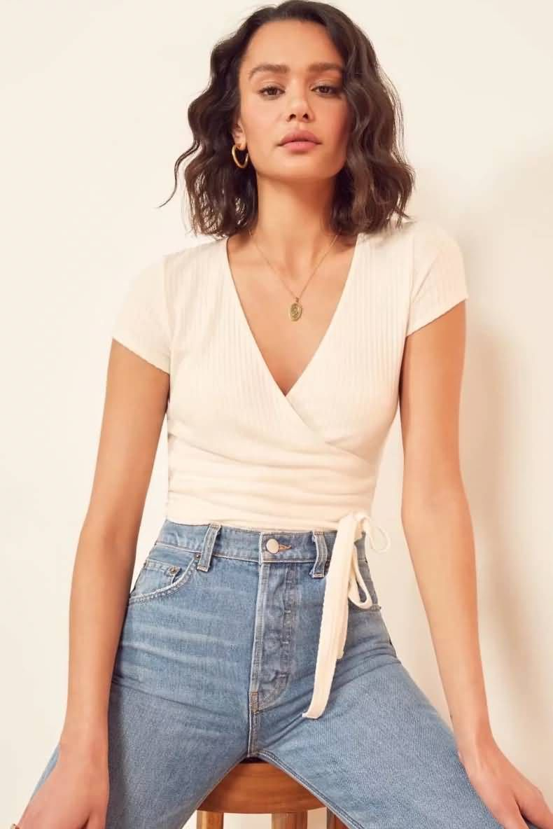 Women White Ribbed Wrap Tied V Neck Sexy T Shirt – M