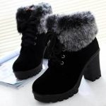 Women Winter Ankle Boots Lace Up High Heel Classic , #ankle #boots #classic #win...