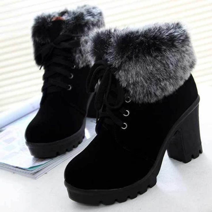 Women Winter Ankle Boots Lace Up High Heel Classic , #ankle #boots #classic #win…