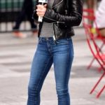 Women's Ankle Boots Casual Fashion Outfit With Leather Biker Jacket