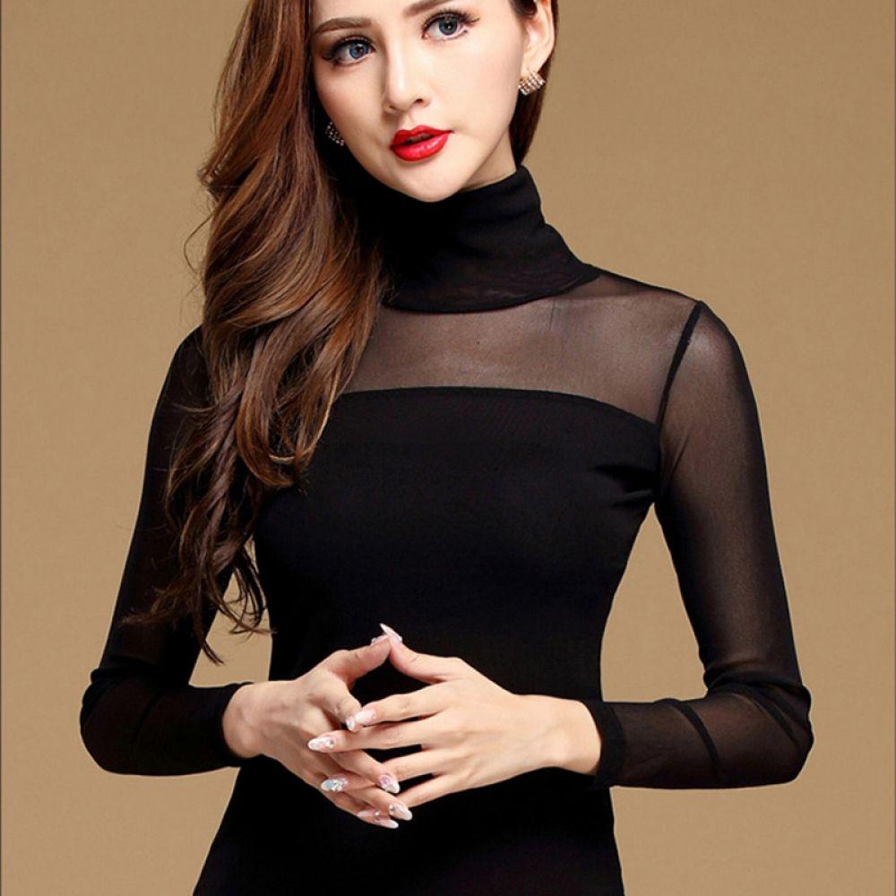 Womens Blouse Shirt Black White Sexy Long Casual Long Sleeve
