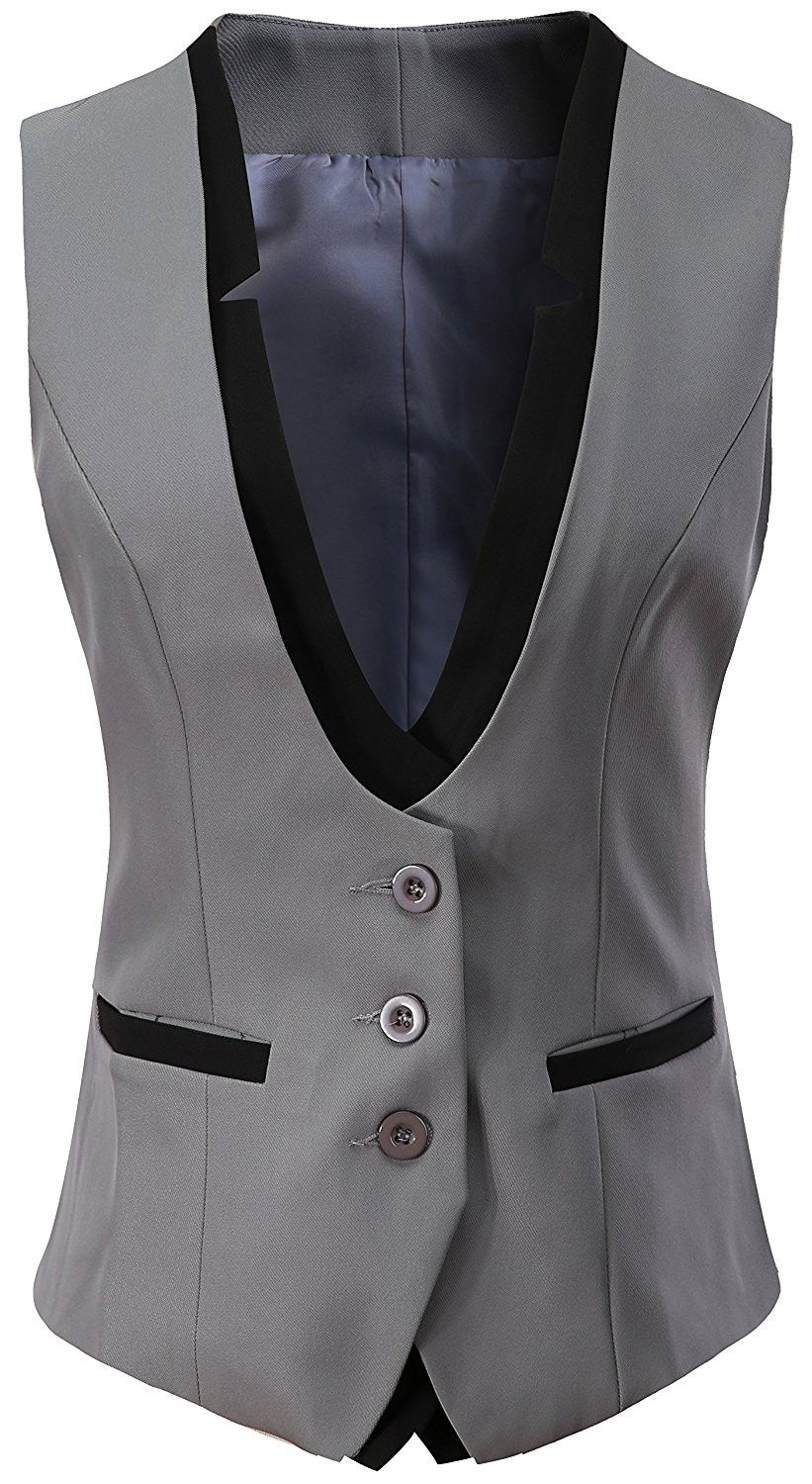 Women's Clothing, Coats, Jackets & Vests, Vests, Women V-Neck Slim Fit Business …
