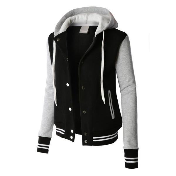 Womens Contrast Sleeve Fleece Varsity Baseball Hoodie Jacket