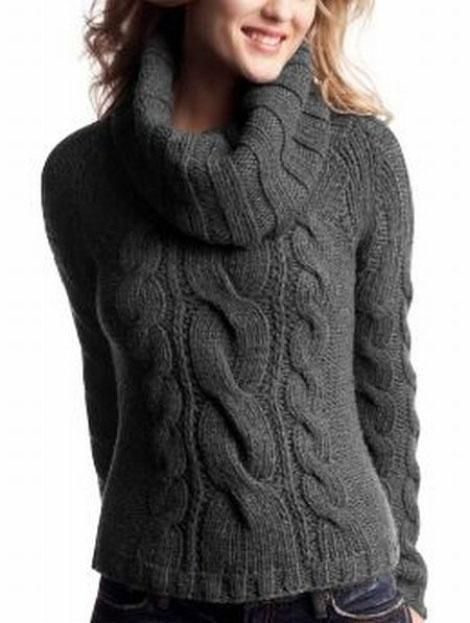 Women's Hand Knit Cowl Neck Sweater 33H