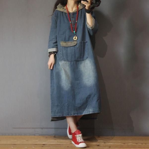 Women's Hooded Dresses in Hand Wash Winter One Size Blue Hooded Pocket Solid Color Denim Mid-Calf Long Sleeve Cotton Street