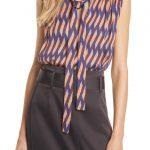 Women's Judith & Charles Renaissance Tie Neck Sleeveless Satin Blouse, Size 8 - Blue