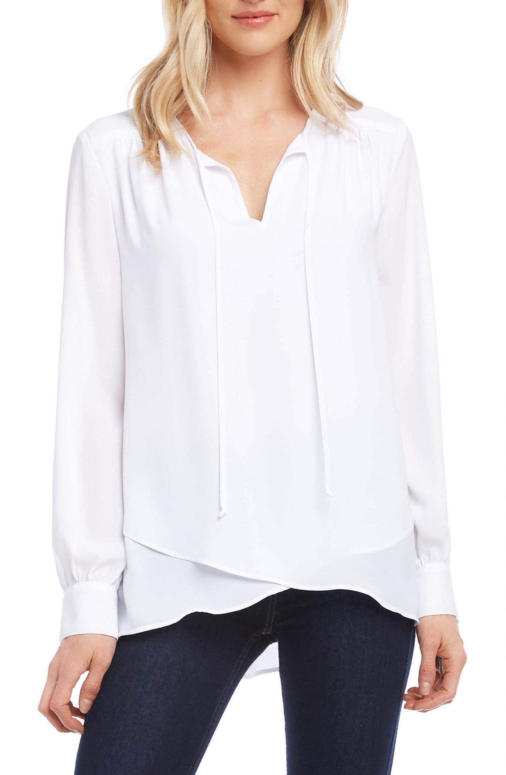 Women's Karen Kane Tie Neck Blouse, Size Large – White