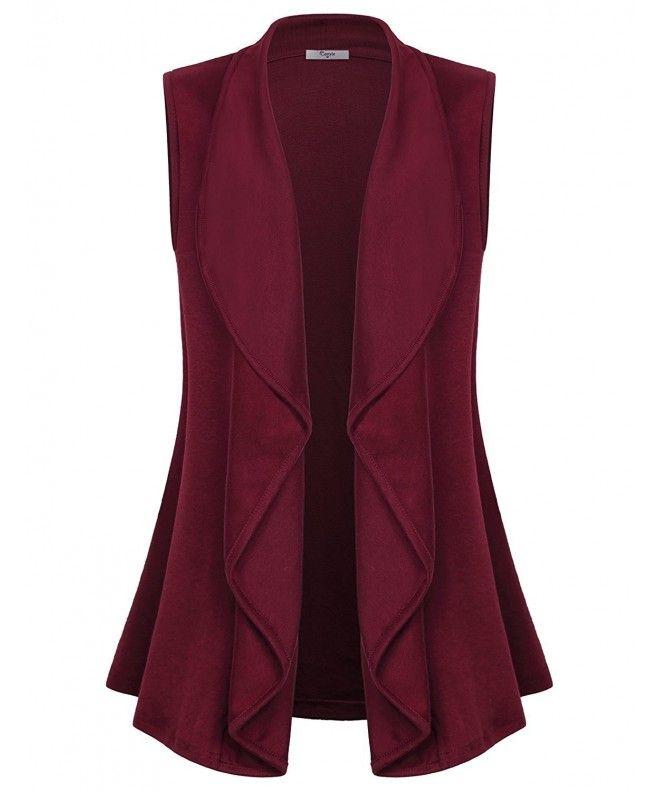 Women's Lapel Open Front Sleeveless Vest Cardigans – Wine – CG188E3ENWN,Women's …