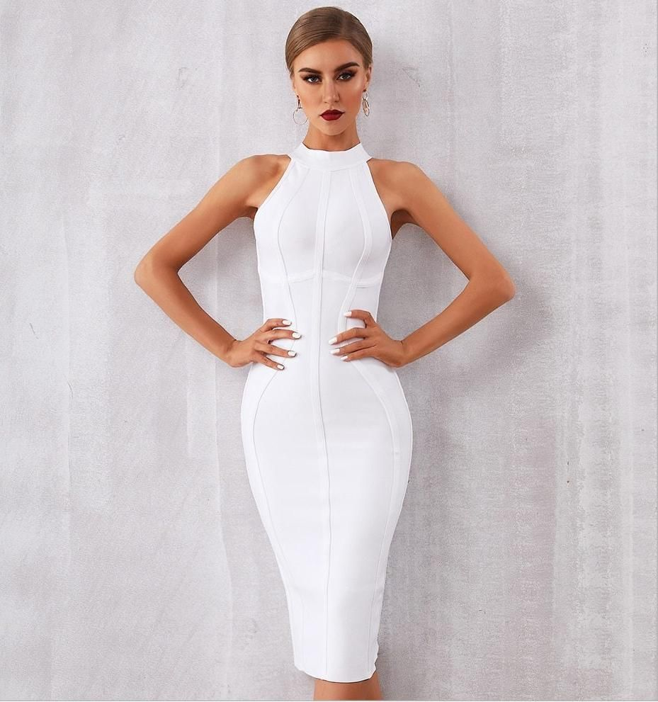 Women's  New Elegant White Halter Bodycon Club Celebrity Party Dress