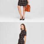 Women's Plaid Short Sleeve Shirt Dress - A New Day Women's Plaid Short Sleeve Sh...