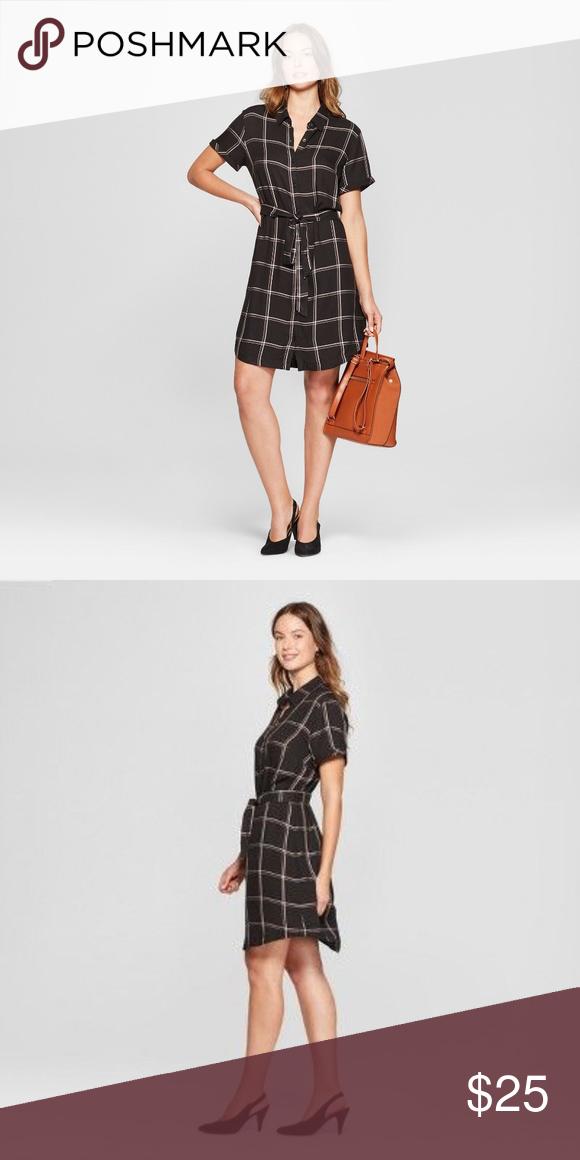 Women's Plaid Short Sleeve Shirt Dress – A New Day Women's Plaid Short Sleeve Sh…