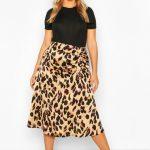 Womens Plus Leopard Print Satin Ruched Asymmetric Skirt - brown - 14