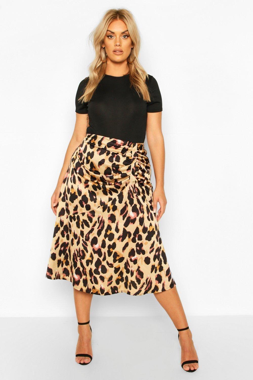 Womens Plus Leopard Print Satin Ruched Asymmetric Skirt – brown – 14