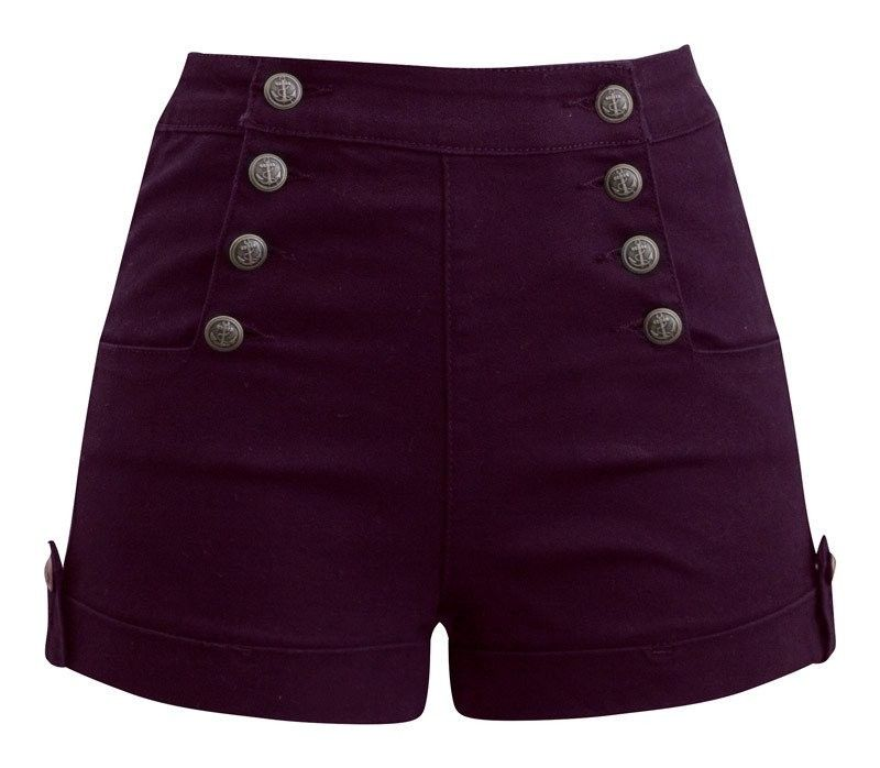 Women's Sailor Girl Denim Shorts with Anchor Buttons – Burgundy