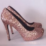 Women's Sparkly Metallic Rose Gold Pink Glitter Heels Wedding Bride shoes