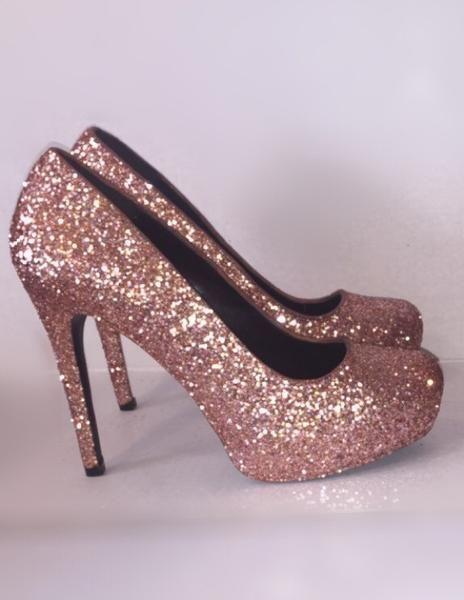 Women's Sparkly Metallic Rose Gold Pink Glitter Heels Wedding Bride shoes