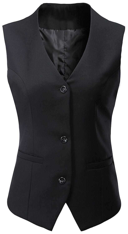 Women's V-Neck Sleeveless 3 Button Fully Lined Slim Fit Economy Dressy Suit Formal Vest Waistcoat – Black – CR183IKL2DA