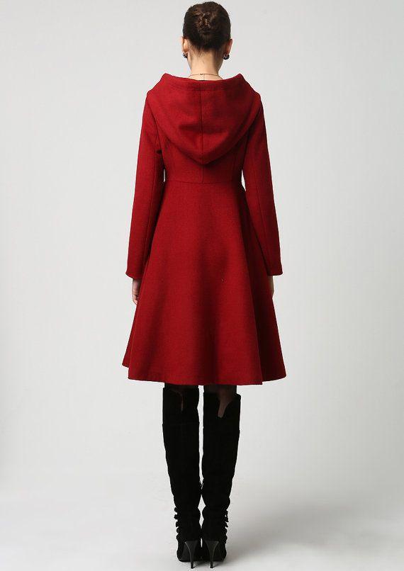 Wool Coat, Winter Coat, Red coat, hooded coat, women coat, long coat, Winter Coat Women , Wool winter coat, red wool coat, wool jacket 1117#