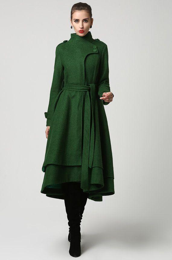 Wool coat, green coat, long coat, green wool coat, winter coat , wool coat women, warm winter coat, made to order, long wool coat 2-1112#