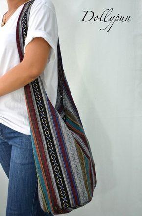 Woven Sling Bag Ethnic Boho Bag Hobo Bag Hippie Bag Cotton Crossbody Shoulder Bag Messenger Bag Diaper Bag Casual Handbags (Yoko)