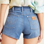 Wrangler High-Rise Pin-Up Denim Shorts by in Blue Size: 27, Women's at Anthropologie