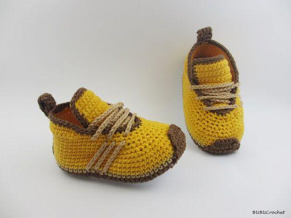 Yellow Crochet Baby Sneakers Crochet baby Sneakers by BUBUCrochet