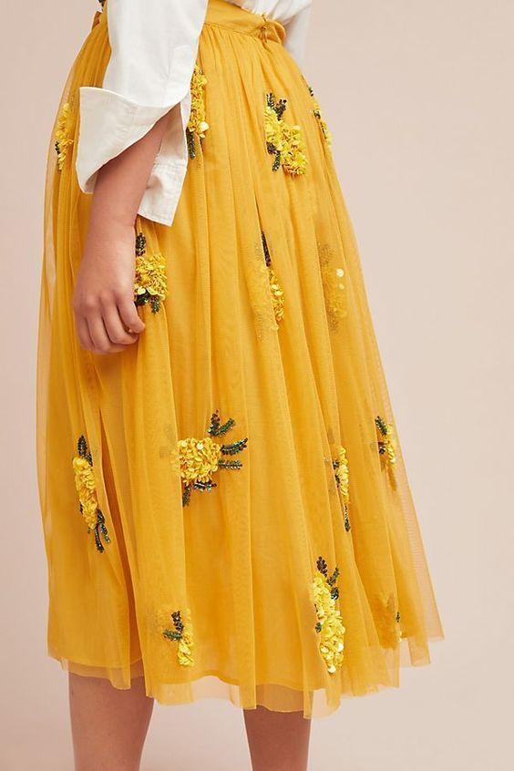 Yellow Skirt,Appliques Skirt,Long Skirt,Fashion Women Skirt,Spring Autumn Skirt SK04
