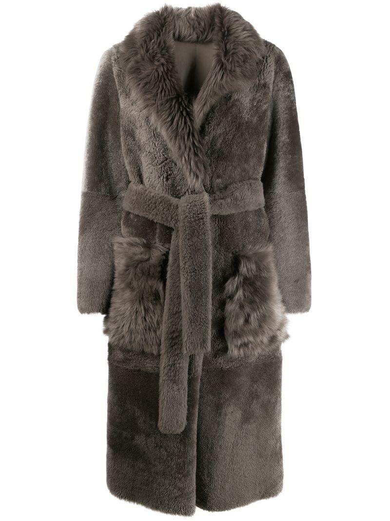 Yves Salomon belted shearling coat – Grey