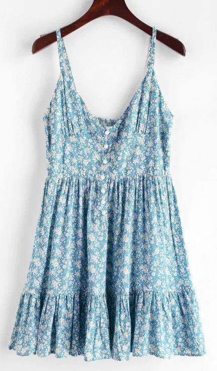 ZAFUL Ruffles Half Buttoned Floral Dress