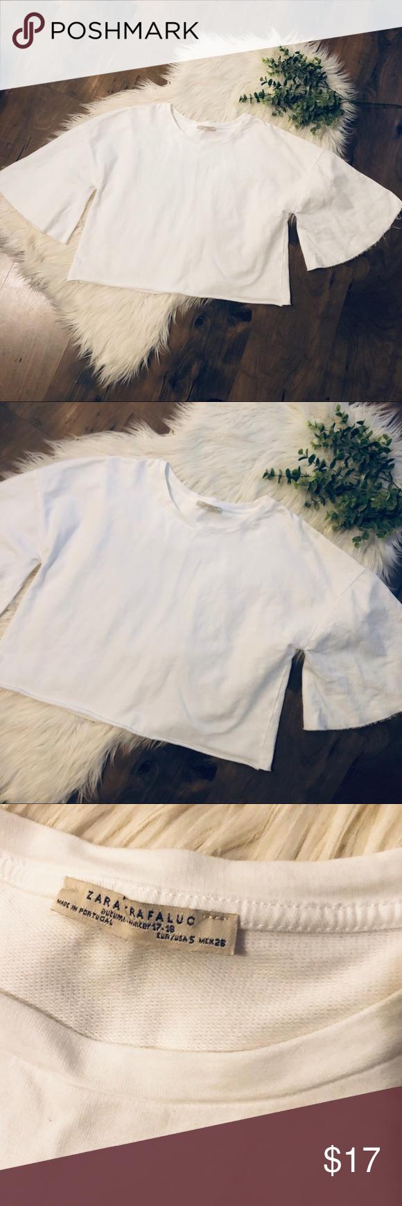 Zara Crop Top Zara Trafaluc white Crop Top Size small 100% cotton So many ways t…