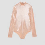 Zara Mock Turtleneck Shimmer Pink Bodysuit Top Sm Adorable pink/peachy shimmery ...