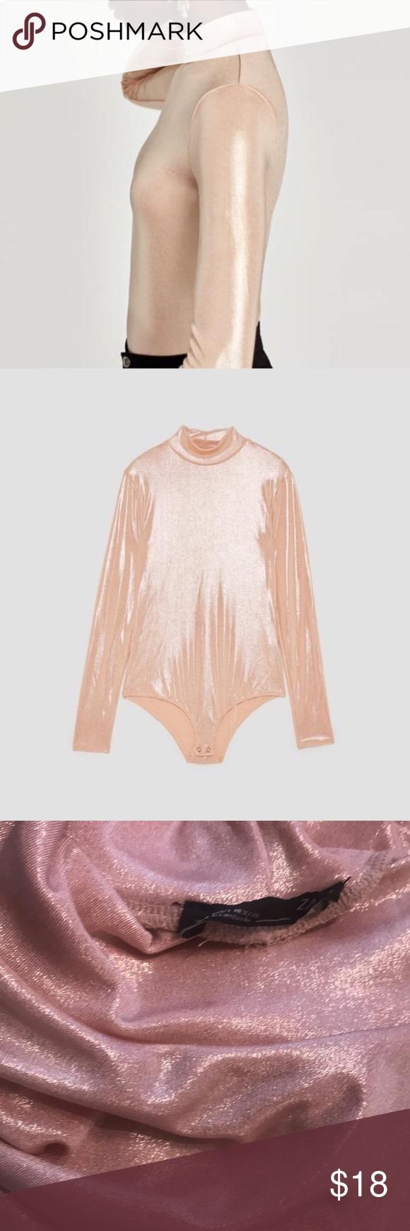 Zara Mock Turtleneck Shimmer Pink Bodysuit Top Sm Adorable pink/peachy shimmery …
